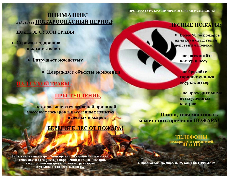 Памятка о пожарах